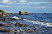Baltic Seascape: The Sea Waves Roll On Large Boulders Of Granite. poster