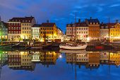 Nyhavn With Colorful Facades Of Old Houses And Old Ships In The Old Town Of Copenhagen, Capital Of D poster