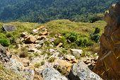 Cliff High Landslide On Top Mountain / Landscape Of Cliff Stones Rock And Soil Landslide Fall Cliff  poster