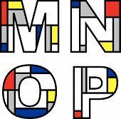 Mondrian Alphabets Mnop (Vector) poster
