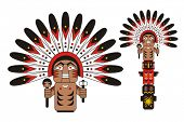 stock photo of indian totem pole  - Totem Indian chief - JPG