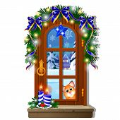 Cozy Interior Home Window. Evening View From Window Of Outdoor Winter Snow Isolated On White Backgro poster