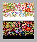 Seamless flowers colorful border with hippie peace symbol, fly agaric and paisley poster