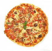 stock photo of italian food  - Pizza Italian from above - JPG