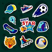 Fashion Patch Badges With Backpack, Rollers, Ball, Baseball Cap, Board And Other. Large Set Of Girli poster