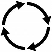 Process Symbol On White Background. Four Step Cycle Arrow Sign. Flat Style. Cycle Icon For Your Web  poster