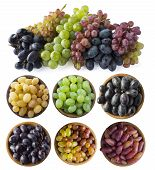 Mixed Grapes Of Different Varieties. Grapes In A Wooden Bowl Isolated On White Background. Blue, Yel poster