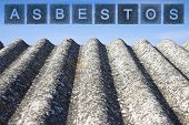Dangerous Asbestos Roof.  The Word Asbestos Written With Letters Whose Graphic Resembles The Shape O poster