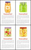 Preserved Healthy Food In Jars Banner With Text. Ripe Oranges, Juicy Grapes, Tomatoes With Garlic An poster