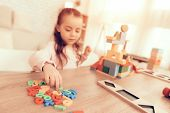 Girl With Toy Numbers. Educational Games. Learning Child At Home. Child Development. Board Games For poster