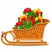 Wicker Wood Sleigh With Festive Gift Boxes Isolated On White Background Isolated On Gray Background. poster