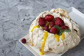Pavlova Cake With Strawberry And Citrus Cake. Strawberry Dessert. Cake With Berries. Orange Curd. Su poster