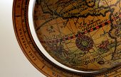 pic of north sudan  - old brown globe with many different counties - JPG