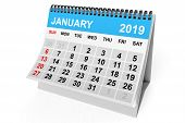 2019 Year Calendar. January Calendar On A White Background. 3d Rendering poster