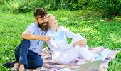 Relax And Inspiration Concept. Family Enjoy Relax Nature Background. Couple With Laptop Relax Natura poster