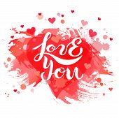 Love You Isolated On Background With Red Heart poster