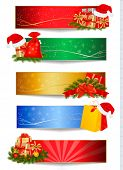 stock photo of polly  - Set of winter christmas backgrounds - JPG