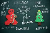 homemade cookies in the shape of a candy cane and a christmas tree, and the text merry christmas in  poster
