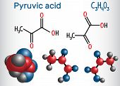 Pyruvic Acid (pyruvate) Molecule. It Is The Simplest Of The Alpha-keto Acids. Structural Chemical Fo poster