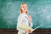 Education, School, Learning. Teacher In Classroom. Smiling Girl Student Or Woman Teacher. Teacher Gi poster