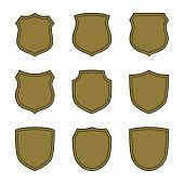 Shield Shape Bronze Icons Set. Simple Flat Logo On White Background. Symbol Of Security, Protection, poster