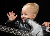 Music Is My Life. Child Boy With Guitar. Little Rock Star. Little Guitarist In Rocker Jacket. Rock S poster