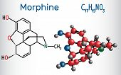 Morphine Molecule. It Is A Pain Medication Of The Opiate. Structural Chemical Formula And Molecule M poster