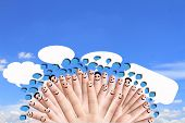 group of finger faces with social chat sign and speech bubbles