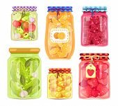 Preserved Food Homemade Jars And Tags Stickers. Pickled Vegetables Cucumbers And Tomatoes. Raspberri poster