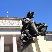Madrid Museo del Prado with Velazquez statue main door in Castellana poster