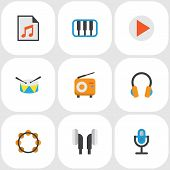 Audio Icons Flat Style Set With Begin, Samba, Synthesizer And Other Earpiece Elements. Isolated Vect poster