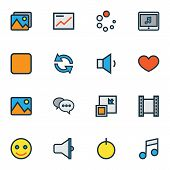 Multimedia Icons Colored Line Set With Loudspeaker, Favorite, Minimize And Other Film Elements. Isol poster