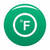 Fahrenheit Icon. Simple Illustration Of Fahrenheit Vector Icon For Any Design Green poster