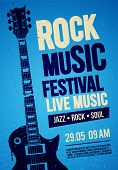 Vector Illustration Blue Rock Festival Concert Party Flyer Or Poster Design Template With Guitar, Pl poster