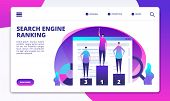 Search Engine Ranking. Seo Marketing Strategy And Website Optimization. Success Online Business Land poster