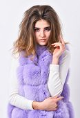 Girl Fur Coat Posing With Hairstyle On White Background. Winter Hair Care Tips You Should Follow. Ha poster
