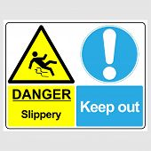 Plate: danger. Slippery. Keep Out. Sign: danger. Slippery. Keep Out On A Gray Background poster