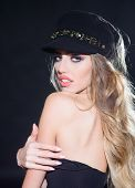 Sexy Girl With Red Lips Bright Makeup In Black Cap. Young Woman In Fashionable Cap. Fashion Model Wo poster