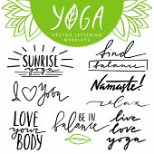 Vector Hand Drawn Lettering Overlays Set About Yoga And Healthy Lifestyle. Collection Of Quotes And  poster