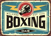 Boxing Club Retro Tin Sign Template Design. Sport And Recreation Promotional Poster. Vector Illustra poster