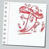 Scribble mexican chili pepper
