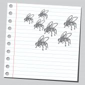 Sketchy illustration of a houseflies