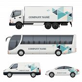 Vehicle Branding. Transportation Advertizing Bus Truck Van Car Realistic Vector Mockup. Illustration poster