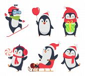 Penguin Characters. Cartoon Winter Illustrations Of Wildlife Animals In Various Action Pose Vector M poster