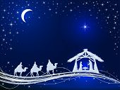 Christian Christmas Theme. Birth Of Jesus, Shining Star And Three Wise Men On Blue Background, Illus poster