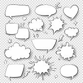 Comic Speech Bubbles. Cartoon Comics Talking And Thought Bubbles. Vector Set Of Speech Shapes. poster