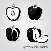 Set of vector apple