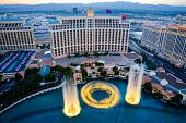 LAS VEGAS - AUGUST 14: Musical fountains at Bellagio Hotel & Casino on August 14, 2012 in Las Vegas.