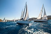 MEDITERRANEAN SEA, TURKEY- MAY 29: Boats Competitors During of sailing regatta Sail & Fun Trophy 201