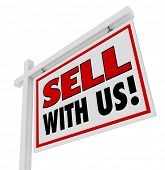 stock photo of soliciting  - A home for sale sign inviting you to sell with us - JPG